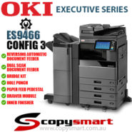 Config 3 OKI ES9466 Colour LED Office Printer w Multi Staple Finisher msf Hole Punch Universal Trays